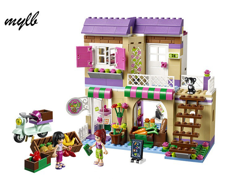 mylb Friends Heartlake Food Market Building Bricks Blocks Toys Girl Game Toys for Children House Gift 10162 friends city park cafe building blocks bricks toys girl game toys for children house gift compatible with lego gift