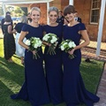 M446 Hot Sale Deep Blue Mermaid Bridesmaid Dresses 2017 O Neck Short Sleeves Pleat Satin Side Split Wedding Guest Dresses