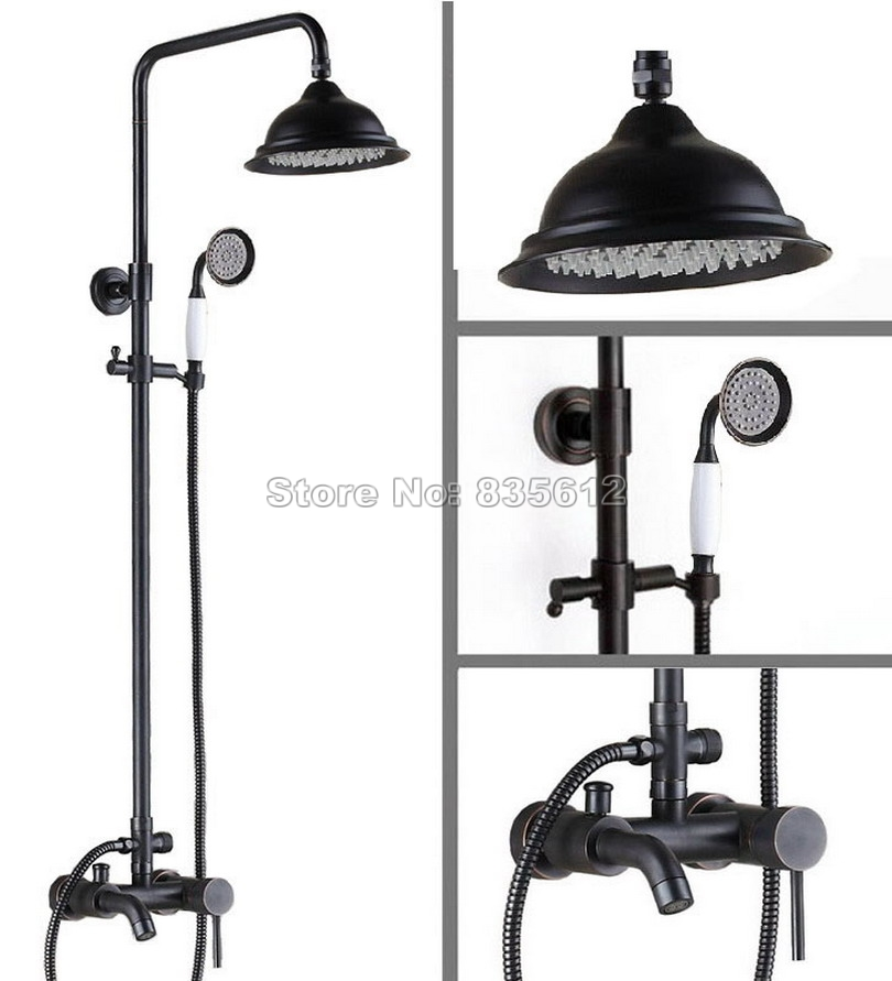Bathroom Rain Shower Faucet Set with Handheld Shower Wall Mounted Black Oil Rubbed Bronze Single Handle Bathtub Mixer Tap Wrs324