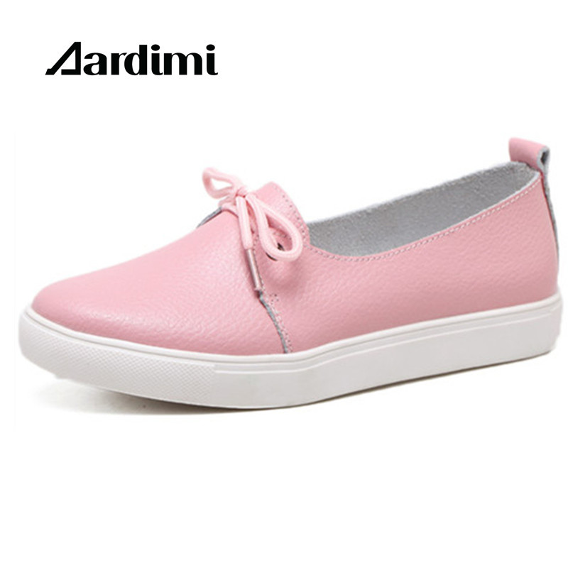 HOT genuine leather women shoes solid slip-on flats woman round toe casual shoes spring walking flats leisure chaussure femme xiaying smile woman flats women brogue shoes loafers spring summer casual slip on round toe rubber new black white women shoes
