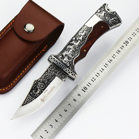 Tactical Survival Folding Pocket Knife Sharp Handmade D2 Blade Camping Knives Ebony Handle Rescue Hunting Knife