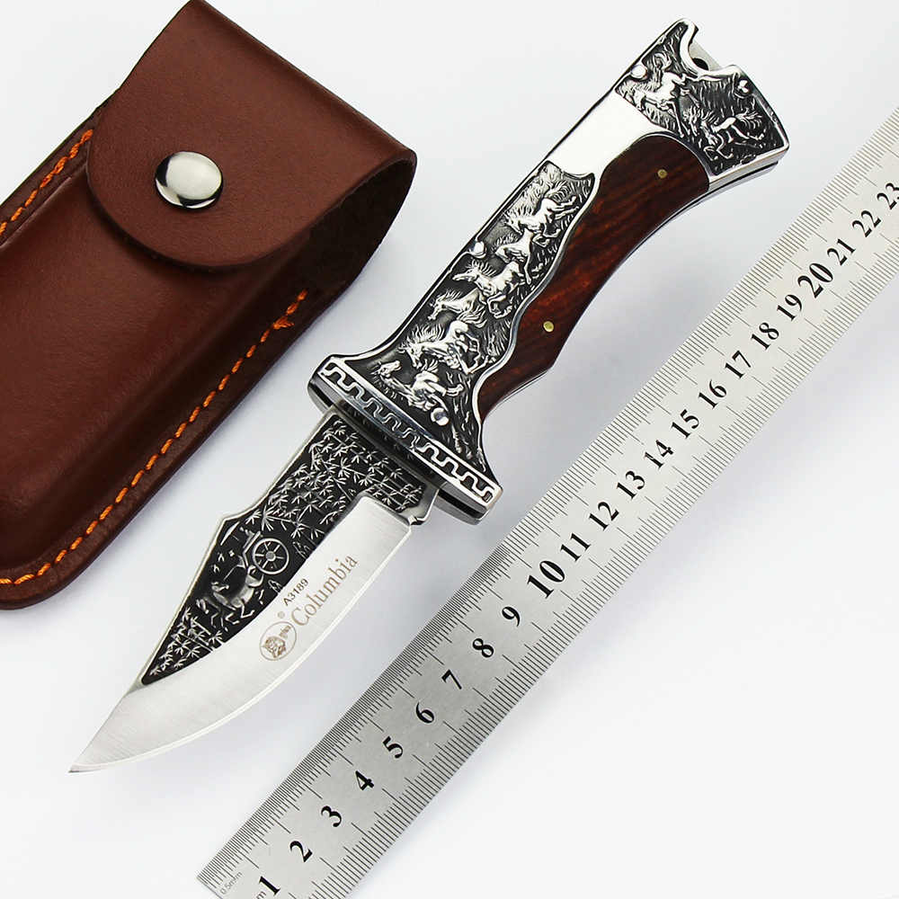 Tactical survival folding pocket knife Sharp Handmade  D2 blade camping knives ebony handle rescue hunting knife EDC tool outlife new style professional military tactical multifunction shovel outdoor camping survival folding spade tool equipment