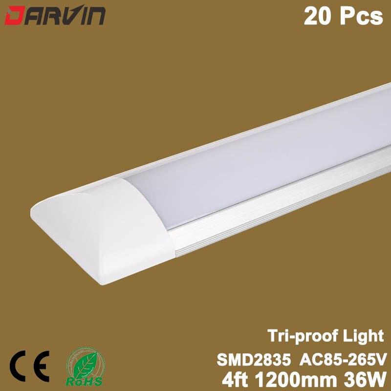 Luz Linear levou Tubo de Luz à prova de Tri-Purificação Limpa quatro pés 36 W 1200mm Led Batten Luz Plana Levou tubo Da Lâmpada de Luz