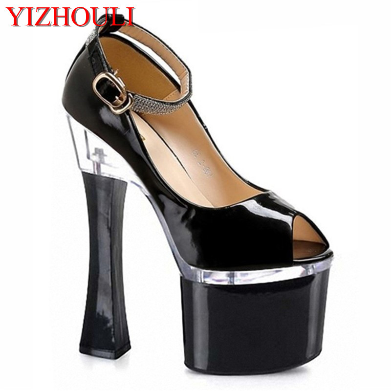 7 inch peep toe thick <font><b>heel</b></font> women pumps women fashion <font><b>18cm</b></font> Platform <font><b>Sexy</b></font> <font><b>High</b></font> <font><b>Heel</b></font> Shoes strappy exotic shoes image