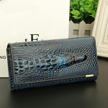 Купить с кэшбэком Ladies Party Clutch Women's  Crocodile pattern Wallet luxury women wallets dames portemonnee portefeuille femme cuir purse