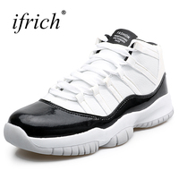 Ifrich Mens Basketball Shoes For Sale High Top Basketball Shoes Boys Leather Gym Training Boots Black