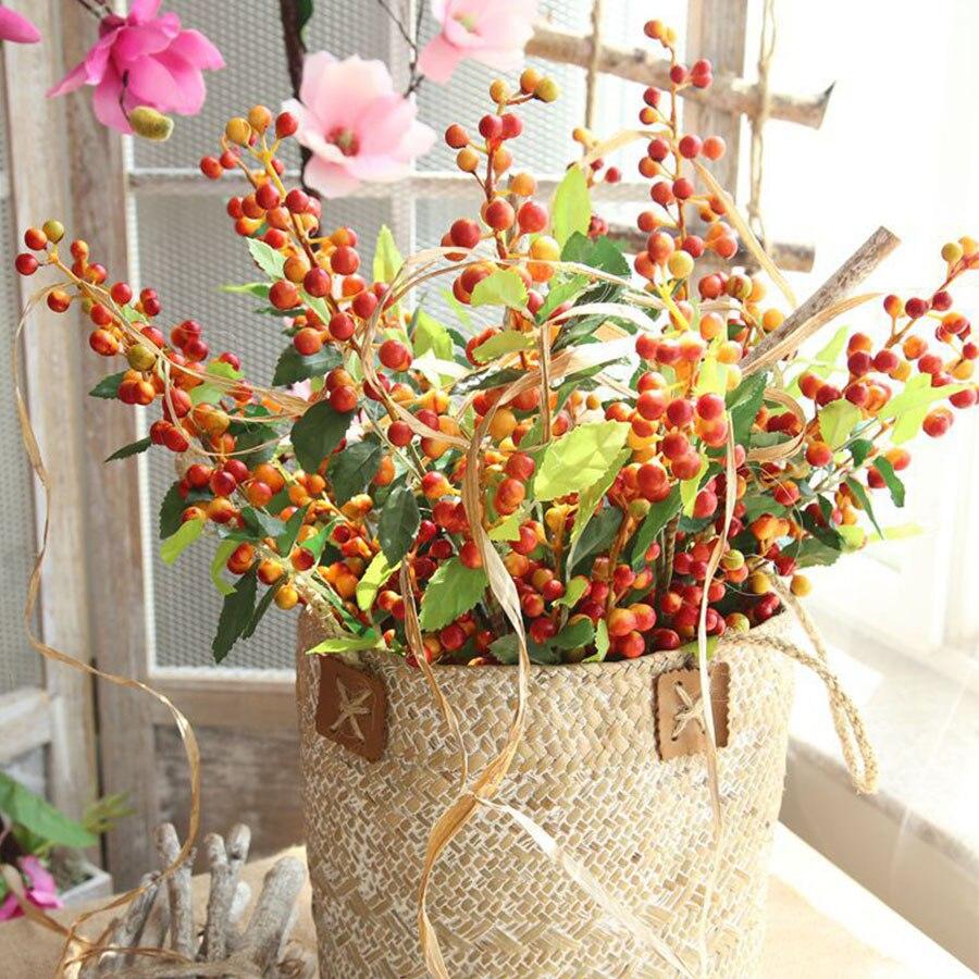 Длинные искусственные ветки ягод, цветы, свадебное украшение, искусственные цветы из пены, украшение для дома на осень, осенний декор для са...