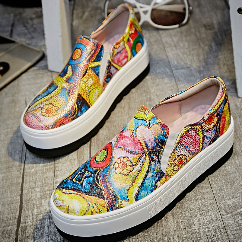 ФОТО 2017 Time-limited Promotion Oxford Shoes For Shoes Woman Genuine Print Flats Fashion Platform Loafers Slip On Flat Mixed Color