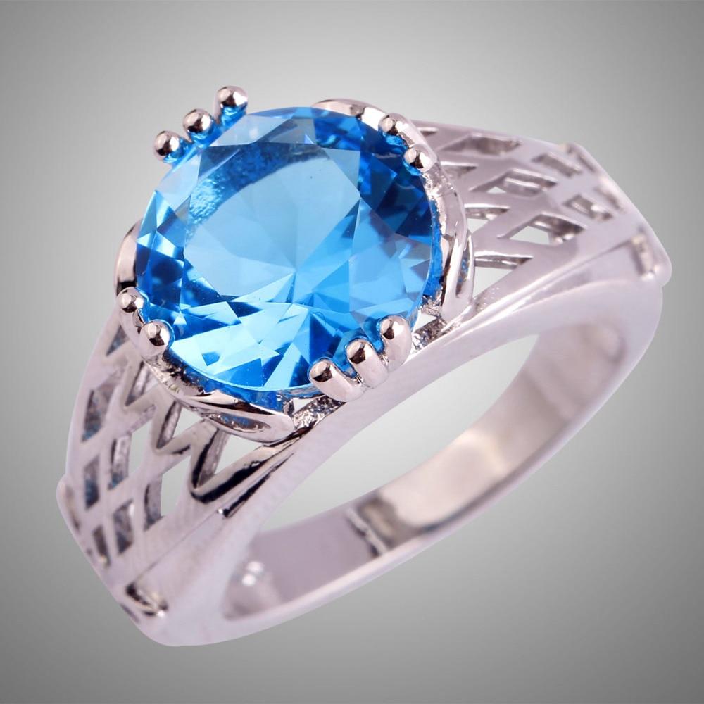 Merthus Fashion Lady Ring Emerald Quartz And Blue Labcreated Gemstone  Wedding Engagement Rings Gift