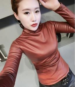 Модные осенние женские топы из искусственной кожи, рубашки, водолазка с длинным рукавом, Тонкая Повседневная блузка плюс размер 4XL