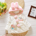 Autumn and winter female baby infant child 0-1 2 3 - - - 4 plush clothing wadded jacket plus velvet thickening outerwear