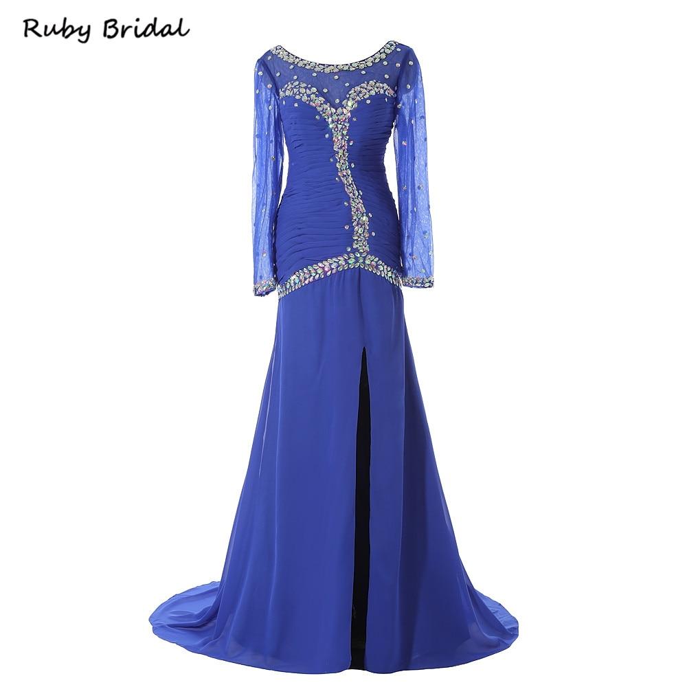 Ruby Bridal 2017 Vestido De Festa Mermaid Prom Dresses Royal Blue Chiffon Crystals Luxury Long Sleeves