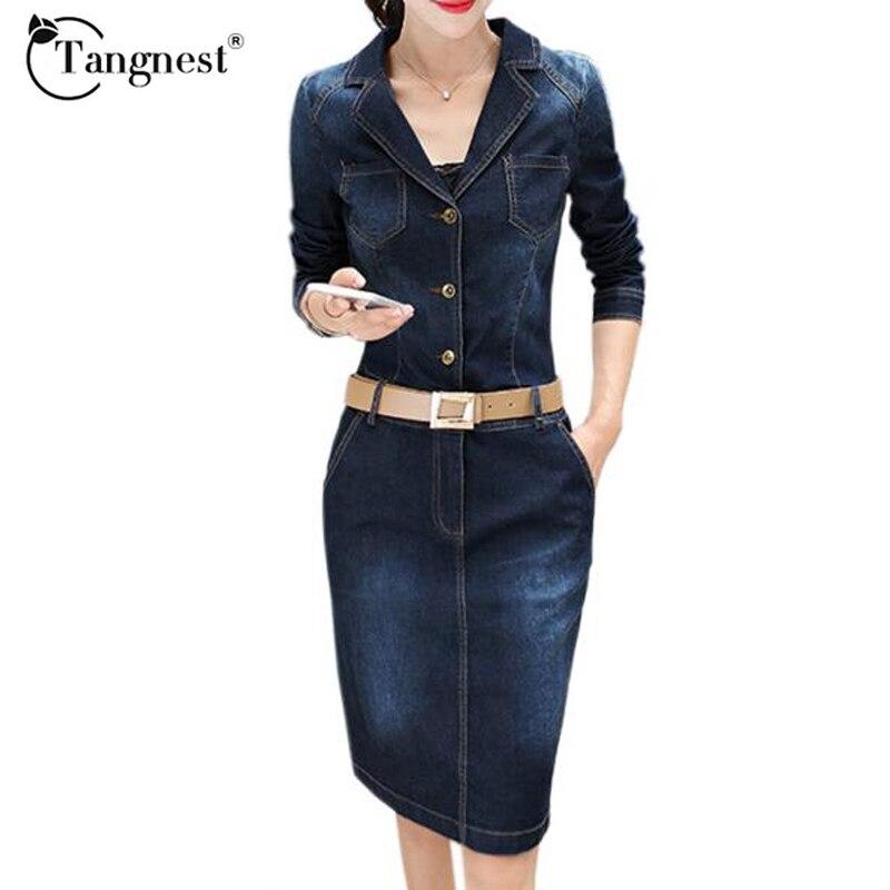 Wonderful Women Vintage Autumn Denim Dress 2016 Fall O Neck Long Sleeve Pockets Casual Dress Plus Size ...