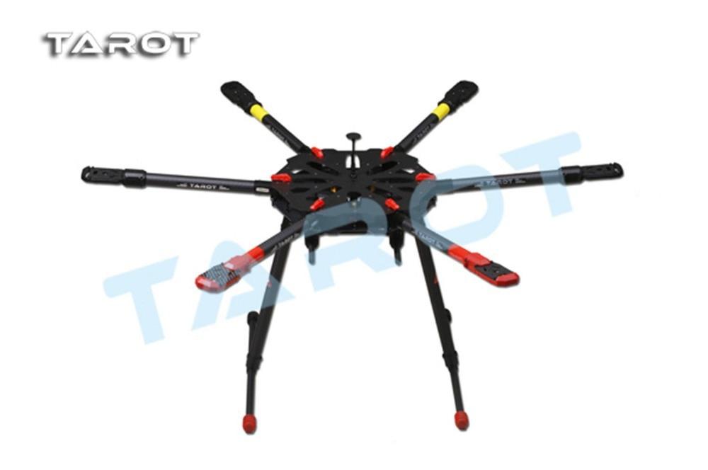 TAROT Drone X6 ALL Carbon HEXA Kit With Retractable Landing Skid TL6X001 F11283 tarot rc 75 degree all metal cnc large scale electric retractable landing gear skid tripod load 30kg tarot tl4n004 diy drone