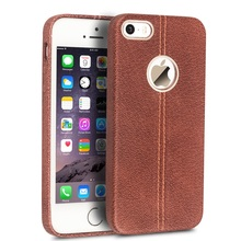 Phone Case/Bag for iPhone 5s QIALINO for iPhone SE 5s 5 Top-layer Cowhide Leather Back Cover – Brown