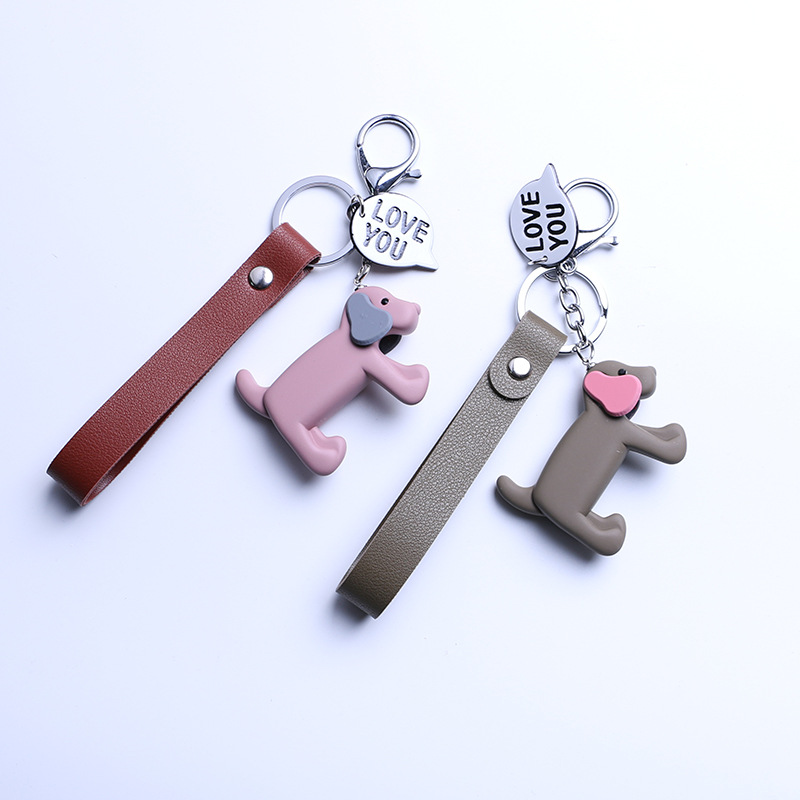 Puppy Keychain Men And Women Cute Dogskin Rope Car Keychain Couple Pendant Bags Ornament Creative 2018 New Jewelry cute novel zinc alloy couple cup pendant keychain silver 2 cps