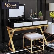 75 см Высокий Комод мебель для спальни/чистые линии сталь х рама с золотой отделкой/45 см высокий металлический стул в комплекте