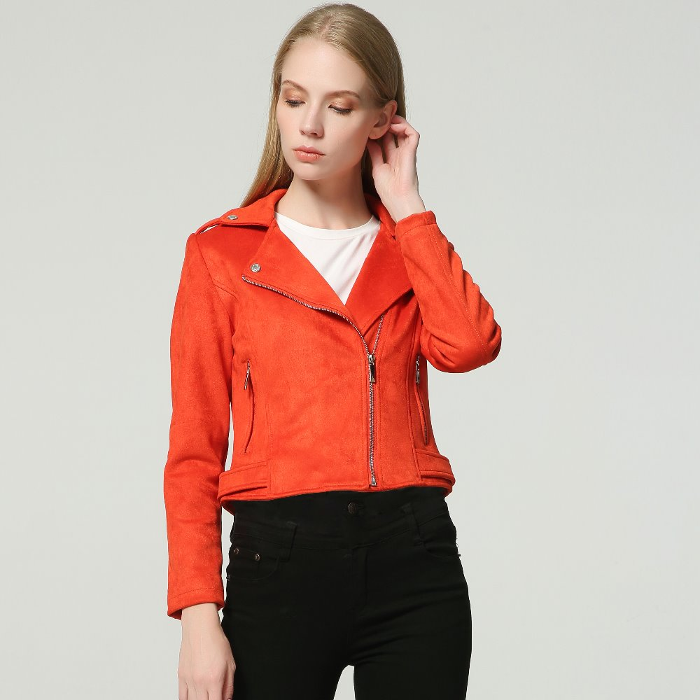2019 New Autumn Faux   Suede   Womens Motorcycle Jacket Faux   Leather   Jacket Women Biker Jacket Slim Red PU Coat 10 Color   suede