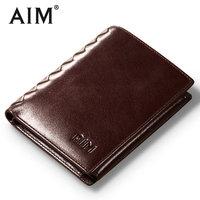 AIM Vintage Oil Wax Leather Short Wallets Men Hot Sale Genuine Cow Leather Wallet Luxury Brand