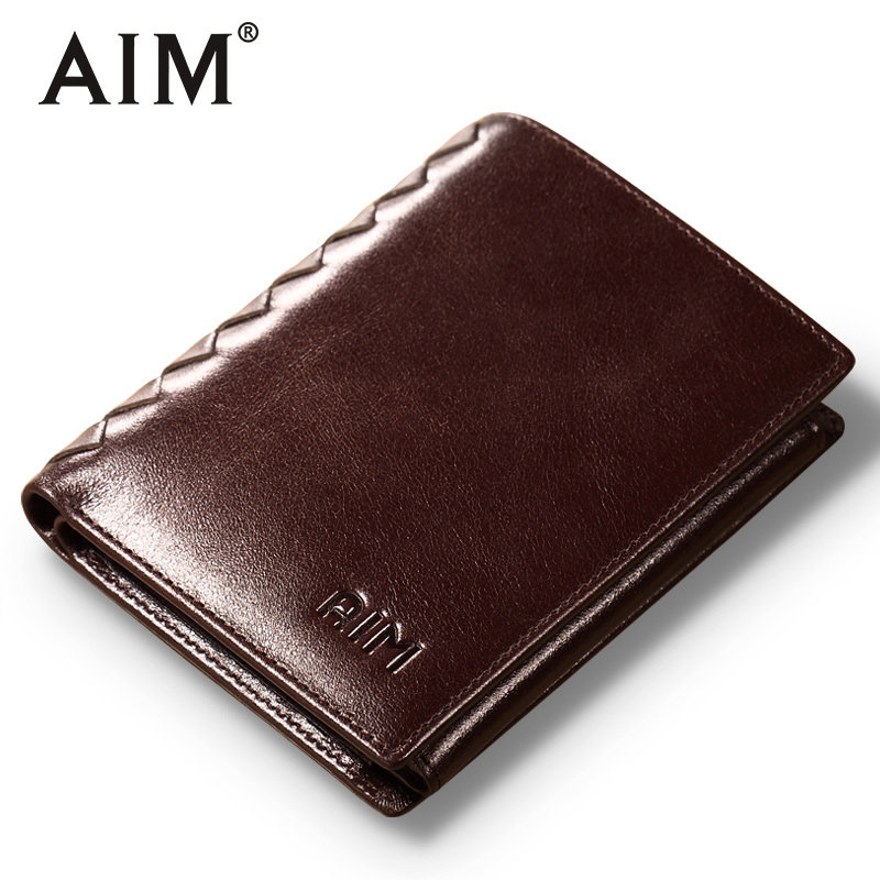 AIM Men Short Wallets 100% Genuine Cow Leather Wallet Men Famous Brand Knitting Design Card Holder Men's Biford Coin Purse A293 aim hot sale genuine leather wallet men oil wax trifold purse man famous brand design short wallets vintage coin card holder men
