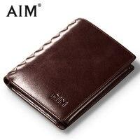 AIM Men Short Wallets 100% Genuine Cow Leather Wallet Men Famous Brand Knitting Design Card Holder Men's Biford Coin Purse A293
