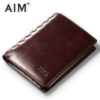 AIM Vintage Oil Wax Leather Short Wallets Men Hot Sale Genuine Cow Leather Wallet Luxury Brand