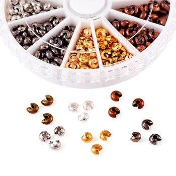 Pandahall 590 pz/scatola di Ferro Crimp Beads Coperture 3mm Metallo Branelli Del Distanziatore Gioielli FAI DA TE Che Fanno I Risultati Accessori 6 Colori