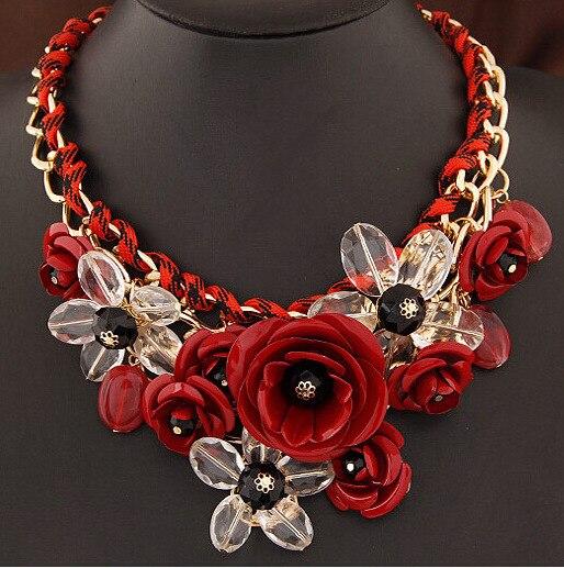 Joyería de moda multi-color rojo rosa flor colgante de cuerda de algodón tejida choker collar corto oro cadena collier femme dl98120