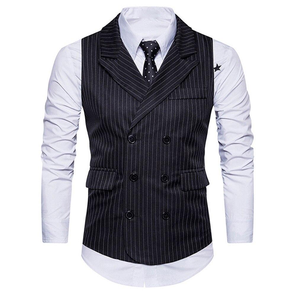 Suit Vests Dress Waistcoat Retro Formal Tweed Jacket Slim-Fit Double-Breasted Sleeveless