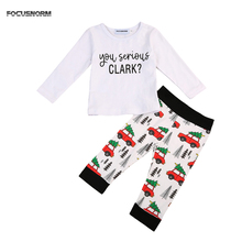 Cute Shirt Christmas Pants Set Toddler Infant Kids Boys Girls Cotton T-shirt Pant Soft Clothes Outfits Set