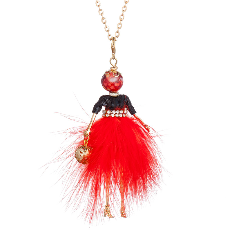 WNGMNGL 2018 New Women Long Necklace Christmas Party Crystal Doll Pendant Necklace For Women Charm Statement Fashion Jewelry in Pendant Necklaces from Jewelry Accessories