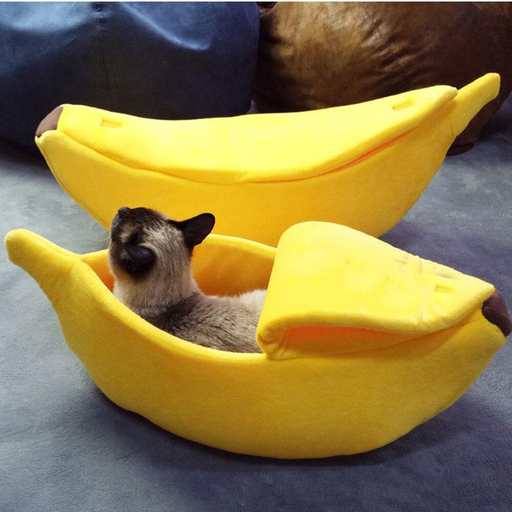 Small Pet Bed Banana Shape Fluffy Warm Soft Plush Breathable Bed Banana Cat Bed House Lovely Soft Suitable Cushion cama gato 流水 盆 養魚
