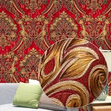 Blau, Rot, gelb Klassischen Europäischen Damast Tapete Für Wände Luxus Elegante 3D Stereo Geprägte Strukturierte Wand Papier Wohnkultur