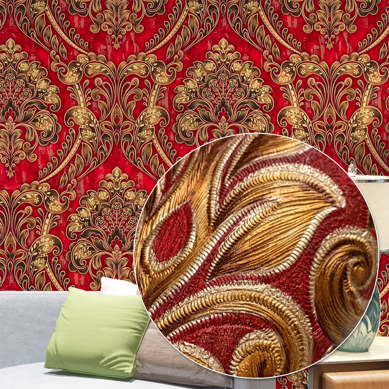 Blue,Red,Yellow Classic European Damask Wallpaper For Walls Luxury Elegant 3D Stereo Embossed Textured Wall Paper Home Decor