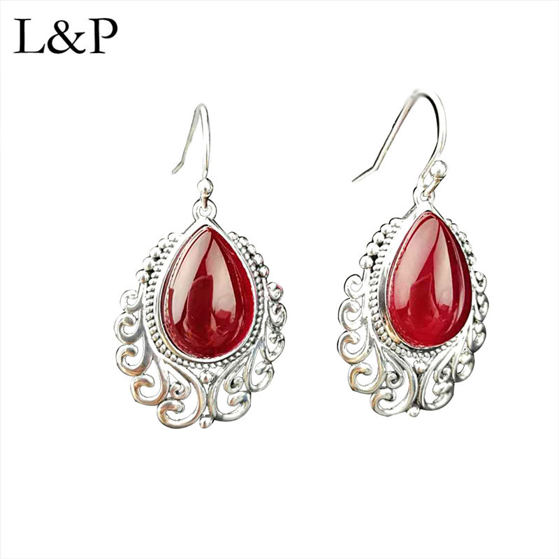 L & P Vintage grenat boucles d'oreilles bijoux pour femmes dame 2019 authénique 925 Sterling argent boucles d'oreilles Original Design cadeau de mariage