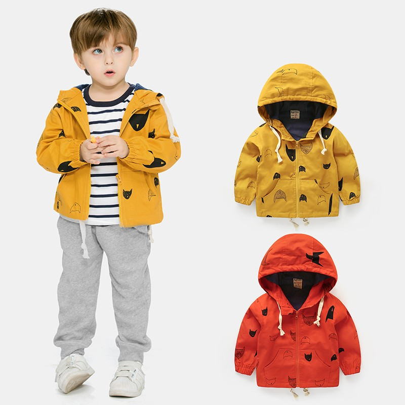 d08a8d9a2 18M 8T Fashion Spring Autumn Boys Hooded Jackets Cartoon Monster ...
