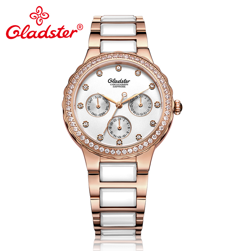 Gladster Fashion Japanese MIYOTA 6P29 Women Watch Luxury Stainless Steel Ceramic Clock Crystal Quartz Ladies Dress Wristwatch