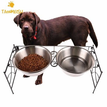 Foldable Dog Bowl Stainless Steel  Double Pet Bowls Dog Cat Puppy Travel Drinker Feeder Pet Feeding Tools Water Dish