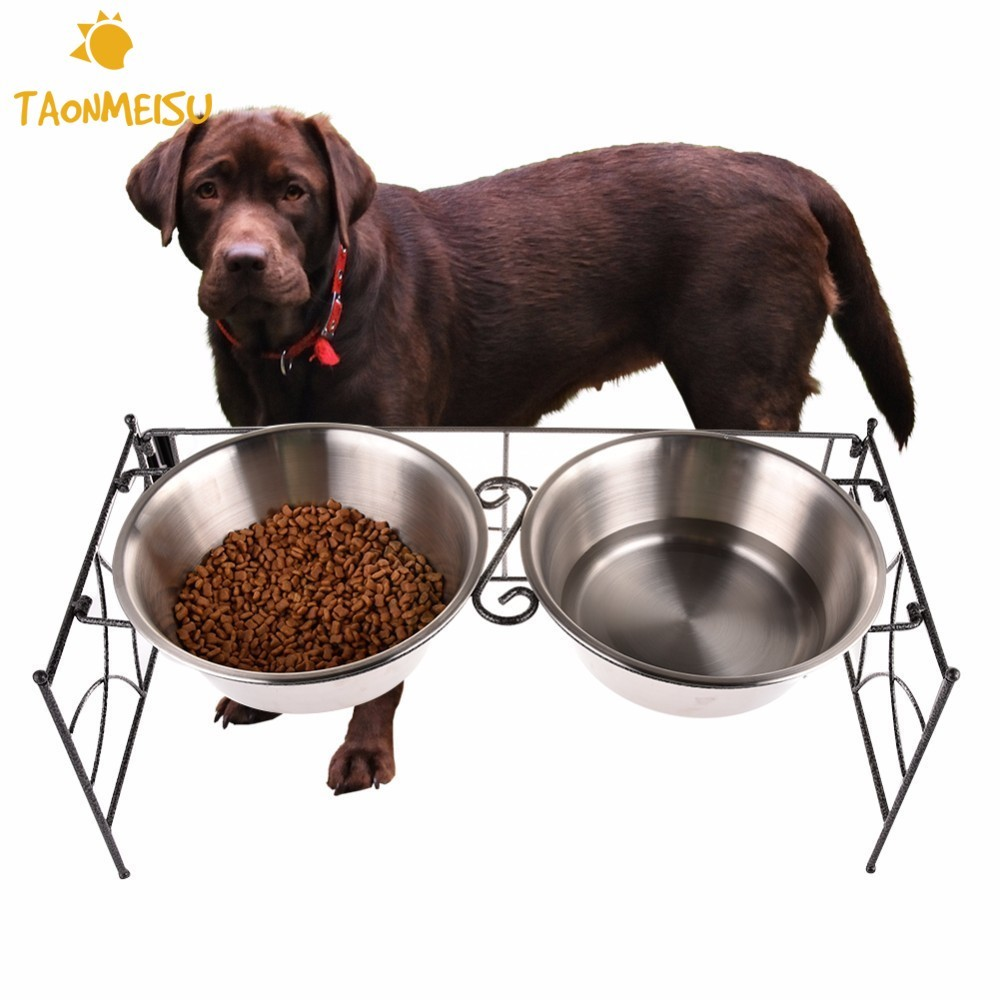 Foldable Dog Bowl Stainless Steel Double Pet Bowls Dog Cat Puppy Travel Feeding Feeder Food Bowl Water Dish