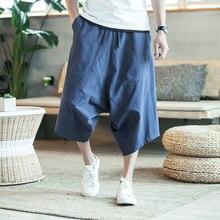 สไตล์จีนHaremกางเกงขาสั้นเบอร์มิวดาฤดูร้อนCroppedกางเกงลินินยาวกางเกงขาสั้นสำหรับชายผ้าฝ้ายCROSS Bigfoot baggyกางเกงขาสั้น