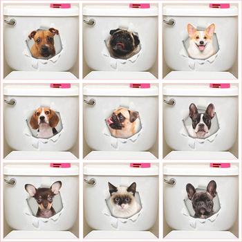 Funny Dog Cat 3d Hole naklejki na toaletę do toalety dekoracja domu Diy Ainimals tapeta pcv Art Cartoon Puppy Kitten Kids kalkomanie tanie i dobre opinie Jednoczęściowy pakiet Duszpasterska Zwierząt Many styles in this link please choose correct one Please DIY Multicolor