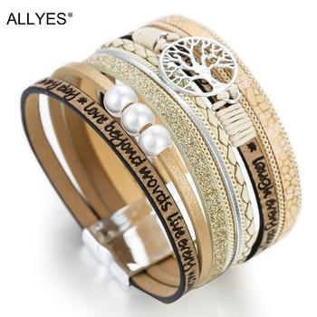 ALLYES Leather Bracelets Tree of Life Ladies Bohemian Multilayer Wide Wrap Bracelet 1