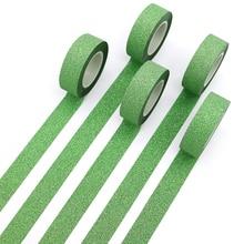 1 шт. креативная зеленая васи лента блестящая вспышка наклейки DIY Украшение альбома клейкая ручная счетная бумага лента маскирующая лента
