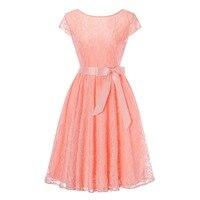 Women S Vintage Cap Sleeve V Back Bridesmaid Lace Dress Short Wedding Party Dresses
