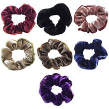 Vintage Palace Style Thicken Velvet Hair Rope Women Shimmer Powder Trim Winter Ponytail Holder Solid Color Decorative Scrunchies(China)