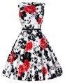 50 s vintage vestidos sexy verano vestidos de partido de las mujeres pin up rockabilly oscilación vestidos túnica de algodón del o-cuello más el tamaño de las mujeres de dress