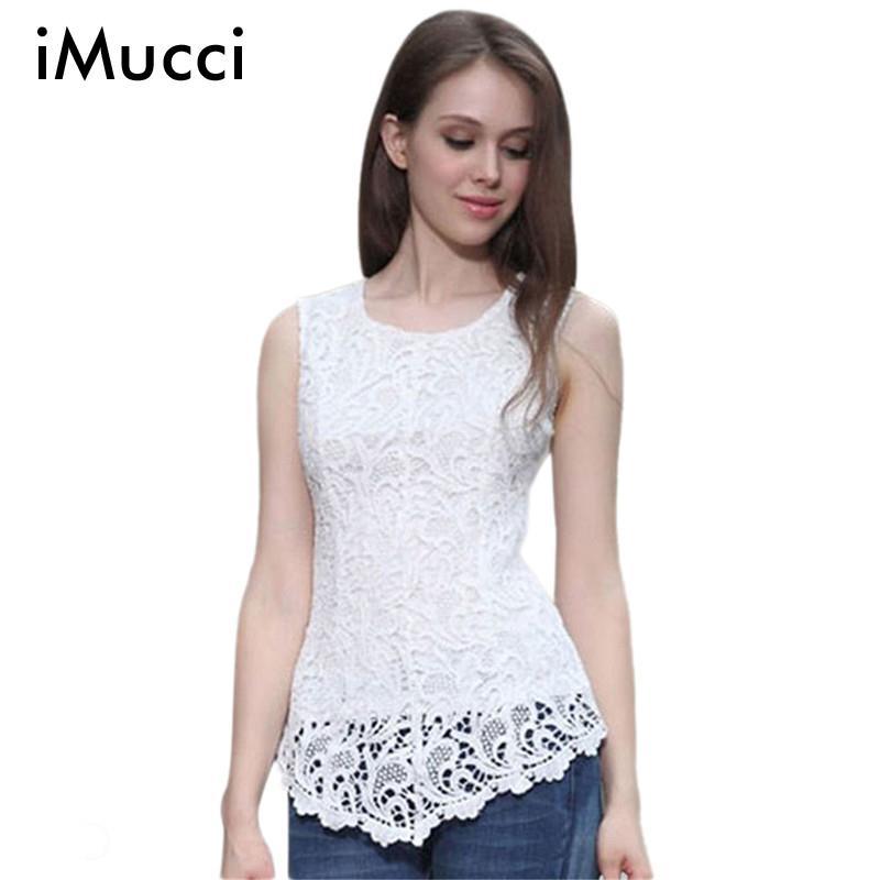 iMucci 9Colors White Lace Women Blouses Plus Size 5XL Black Womens Tops Chiffon Blouse Purple Sleeveless Shirt 3XL 4XL Shirts
