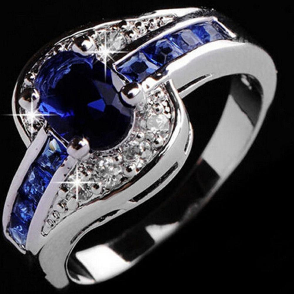 Size 789 Beautiful Pretty Fashion Wedding Ring Party White Gold Color  Silver Plated Nice Women Crystal