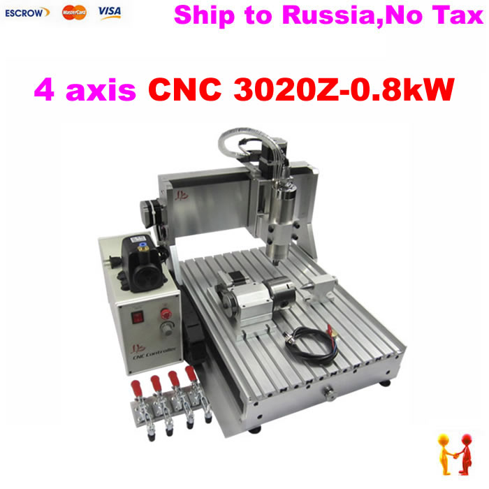 4 Axis metal Milling Machine CNC 2030 CNC Wood Carving Machine 3020 800W spindle eur free tax cnc router 3020z s800 4 axis with 800w spindle mini cnc lathe machine for metal wood