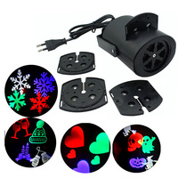 4 Pattern LED Snowflake Love Heart Halloween Candy Laser Projector Moving Stage Effect Lamp Christmas Holiday
